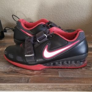 Nike, romaleos 2, black and red Olympic shoes